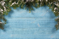 Old plank of twigs Christmas trees Royalty Free Stock Photo