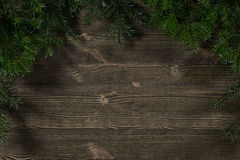 Old plank of twigs Christmas trees Stock Photo
