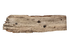 Old plank of wood isolated on white Royalty Free Stock Photos