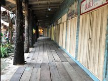 Old planked wood floor. Old planked wood floor in countryside resort home Stock Images