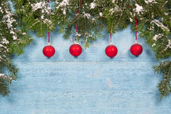 Old planks adorned with twigs Christmas tree Royalty Free Stock Photos