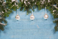 Old planks adorned with twigs Christmas tree Stock Images