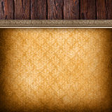 Old planks and vintage wallpaper background Royalty Free Stock Images