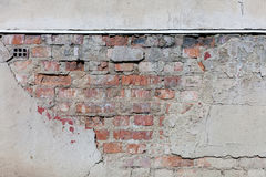 Old plaster and bricks wall. Grunge textured background Stock Photography