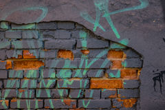 The old plaster on gray brick wall Royalty Free Stock Photography