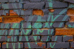 The old plaster on gray brick wall Stock Photo