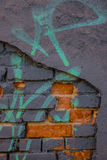 The old plaster on gray brick wall Stock Photography