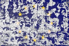 Old plastered wall with the image of the flag of the European Union Royalty Free Stock Photography