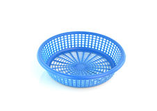 Old plastic basket on a white background Stock Photo