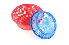 Old plastic basket on a white background Stock Image