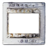 Old plastic slide film mount frame. Old vintage 35mm slides, grungy and dirty on white background with free space for your pics Royalty Free Stock Photo