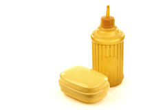 Old plastic spraying bottle and soap box Royalty Free Stock Photos