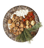 Old plate with nuts, seeds, dried fruits. And coniferous stick Royalty Free Stock Photo