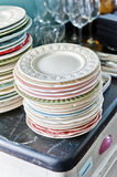 Old plates. Stack of various plates. Photo taken in natural light Royalty Free Stock Photo