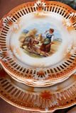Old plates. Decorated for home royalty free stock photo