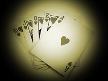 Old Play. Sepia toned playing cards Stock Image