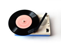 Old player of plates. Rendered vinyl player  on white background Stock Photos