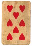 Old playing card with 8 hearts isolated on white Stock Images
