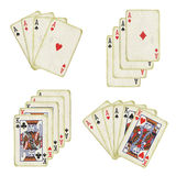 Old playing cards. On the isolated white background Stock Images