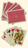 Old playing cards. Front and back of old playing cards Royalty Free Stock Photo