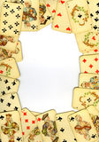 Old playing cards. Frame from old playing cards on white background Royalty Free Stock Image