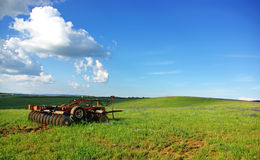 A old plough in field. Royalty Free Stock Photos