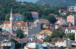 Old Plovdiv cityscape with timber roofs,Bulgaria. Old Plovdiv center panorama with timber roofs,Bulgaria Royalty Free Stock Images