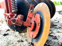Old plows in Thailand for shoveling. Plow on trailer for tractor Stock Images