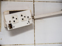 Old plug and The deterioration of the power switch makes it dangerous to use. Royalty Free Stock Photo