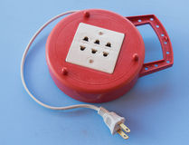 old plug electrical power strip Stock Photos