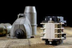 Old plug and socket high voltage. Old electrical accessories. Wo Stock Photos