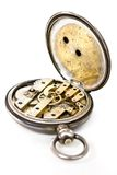 Old pocket silver swiss watch movement Royalty Free Stock Images