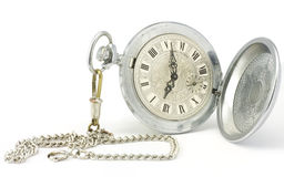 Old pocket watch. Old pocket watch with chain on white background Royalty Free Stock Photos