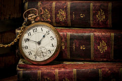Free Old Pocket Watch And Books In Low-key Copy Space Royalty Free Stock Photo - 25741405