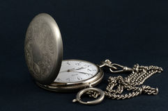 Old pocket watch on black Stock Image