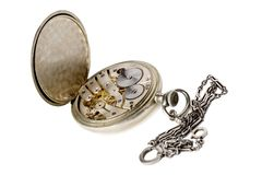 Old pocket watch with a chain Stock Photos