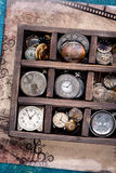 Old pocket watch and clock face in vintage box Royalty Free Stock Photos