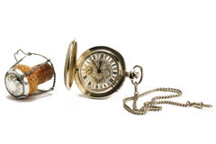 Old pocket watch with a cork Royalty Free Stock Photos
