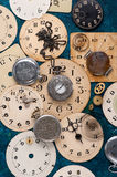 Old pocket watch and face old clock, vintage background Stock Photography