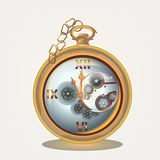 Old pocket watch on golden chain Royalty Free Stock Photography