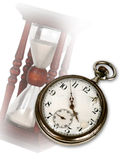 Old pocket watch and hourglass Stock Images