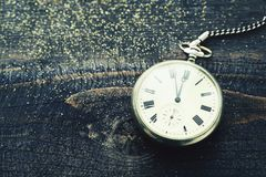 Old pocket watch with hours over time 23:55 Stock Images