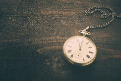 Old pocket watch with hours over time 23:55 Royalty Free Stock Photo