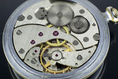 Old pocket watch internal mechanism macro shoot Stock Image