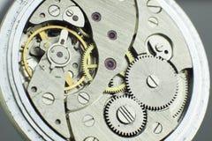 Old pocket watch internal mechanism macro shoot Stock Images