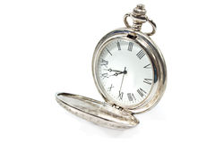 Old pocket watch. Isolated on white Royalty Free Stock Photography