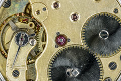 Old pocket watch mechanism. Close-up Royalty Free Stock Images