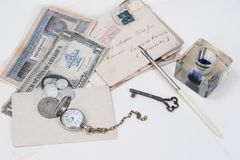 old pocket watch, old ink pen, handwrite letters Stock Photography