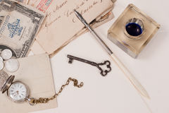 old pocket watch, old ink pen, handwrite letters Royalty Free Stock Image