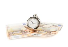 Old pocket watch over the bank notes Stock Photography